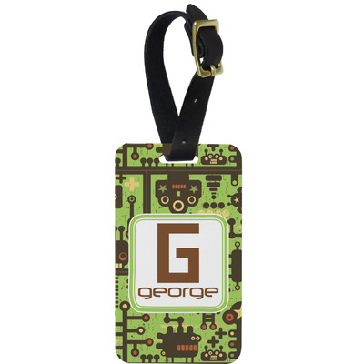 Industrial Robot 1 Metal Luggage Tag w/ Name and Initial