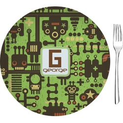 """Industrial Robot 1 Glass Appetizer / Dessert Plates 8"""" - Single or Set (Personalized)"""