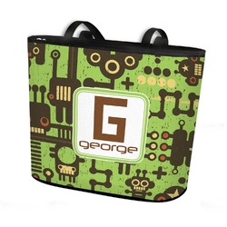 Industrial Robot 1 Bucket Tote w/ Genuine Leather Trim (Personalized)