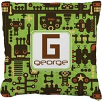Industrial Robot 1 Faux-Linen Throw Pillow (Personalized)