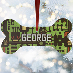 Industrial Robot 1 Ceramic Dog Ornaments w/ Name and Initial