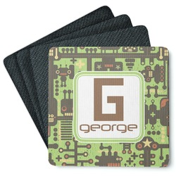 Industrial Robot 1 4 Square Coasters - Rubber Backed (Personalized)