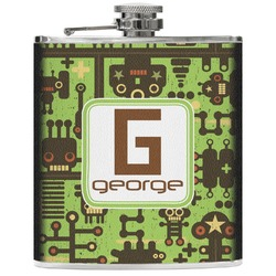 Industrial Robot 1 Genuine Leather Flask (Personalized)
