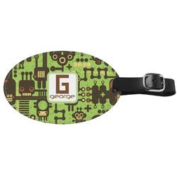 Industrial Robot 1 Genuine Leather Oval Luggage Tag (Personalized)