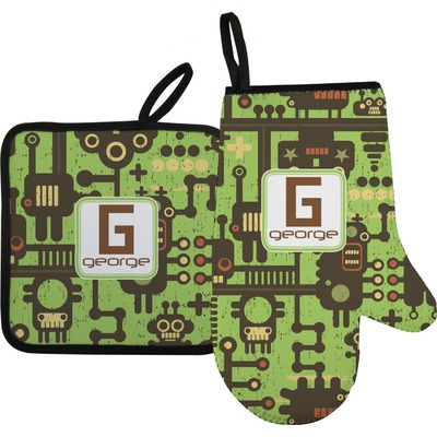 Industrial Robot 1 Oven Mitt & Pot Holder (Personalized)