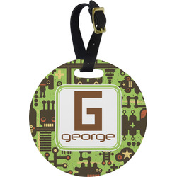 Industrial Robot 1 Round Luggage Tag (Personalized)