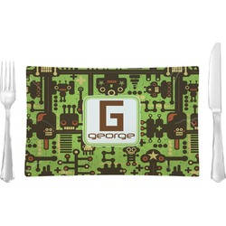 Industrial Robot 1 Glass Rectangular Lunch / Dinner Plate - Single or Set (Personalized)