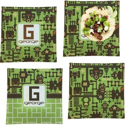 """Industrial Robot 1 Set of 4 Glass Square Lunch / Dinner Plate 9.5"""" (Personalized)"""