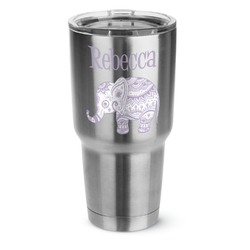 Baby Elephant 30 oz Silver Stainless Steel Tumbler w/Full Color Graphics (Personalized)