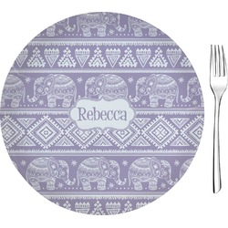 """Baby Elephant Glass Appetizer / Dessert Plate 8"""" (Personalized)"""