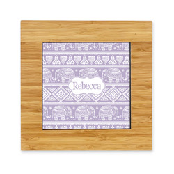 Baby Elephant Bamboo Trivet with Ceramic Tile Insert (Personalized)