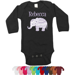 Baby Elephant Bodysuit - Black (Personalized)