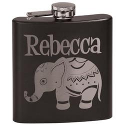 Baby Elephant Black Flask (Personalized)