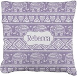 Baby Elephant Faux-Linen Throw Pillow (Personalized)