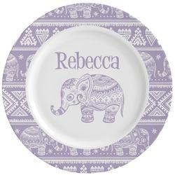 Baby Elephant Ceramic Dinner Plates (Set of 4) (Personalized)