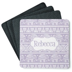 Baby Elephant 4 Square Coasters - Rubber Backed (Personalized)