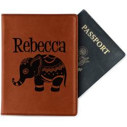 Baby Elephant Leatherette Passport Holder - Single Sided (Personalized)
