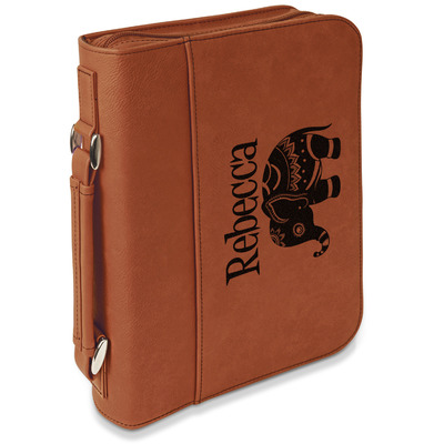 Baby Elephant Leatherette Book / Bible Cover with Handle & Zipper (Personalized)