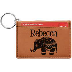 Baby Elephant Leatherette Keychain ID Holder (Personalized)