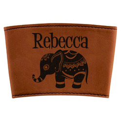 Baby Elephant Leatherette Mug Sleeve (Personalized)