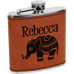 Baby Elephant Leatherette Wrapped Stainless Steel Flask (Personalized)