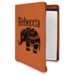 Baby Elephant Leatherette Zipper Portfolio with Notepad (Personalized)