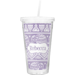 Baby Elephant Double Wall Tumbler with Straw (Personalized)