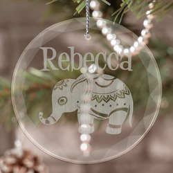 Baby Elephant Engraved Glass Ornament (Personalized)