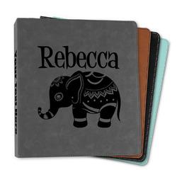 "Baby Elephant Leather Binder - 1"" (Personalized)"