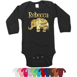 Baby Elephant Foil Bodysuit - Long Sleeves - Gold, Silver or Rose Gold (Personalized)