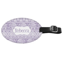 Baby Elephant Genuine Leather Oval Luggage Tag (Personalized)