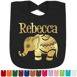 Baby Elephant Foil Baby Bibs (Select Foil Color) (Personalized)