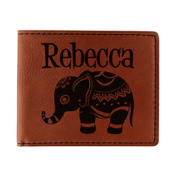 Baby Elephant Leatherette Bifold Wallet (Personalized)