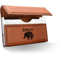 Baby Elephant Leatherette Business Card Case (Personalized)