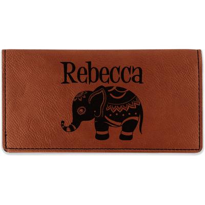 Baby Elephant Leatherette Checkbook Holder (Personalized)