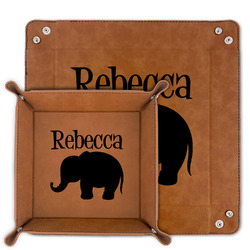 Baby Elephant Faux Leather Valet Tray (Personalized)