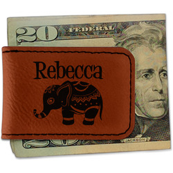 Baby Elephant Leatherette Magnetic Money Clip (Personalized)