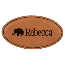 Baby Elephant Leatherette Oval Name Badge with Magnet (Personalized)