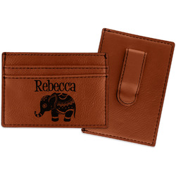 Baby Elephant Leatherette Wallet with Money Clip (Personalized)