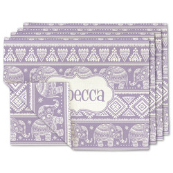 Baby Elephant Linen Placemat w/ Name or Text