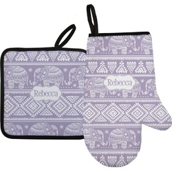 Baby Elephant Oven Mitt & Pot Holder Set w/ Name or Text