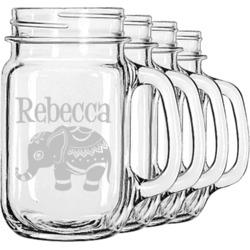 Baby Elephant Mason Jar Mugs (Set of 4) (Personalized)