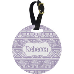 Baby Elephant Round Luggage Tag (Personalized)
