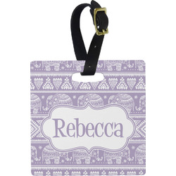 Baby Elephant Square Luggage Tag (Personalized)