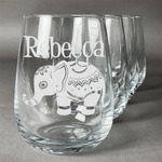 Baby Elephant Stemless Wine Glasses (Set of 4) (Personalized)