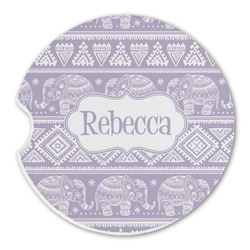 Baby Elephant Sandstone Car Coaster - Single (Personalized)