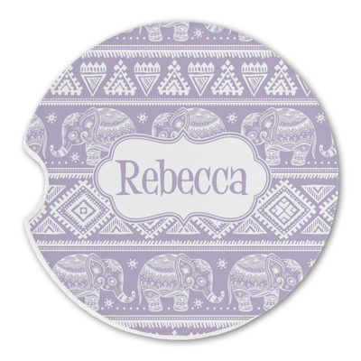 Baby Elephant Sandstone Car Coasters (Personalized)