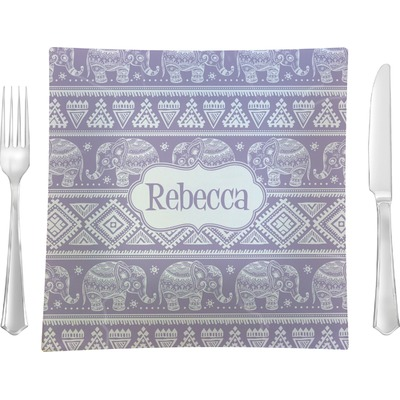 """Baby Elephant 9.5"""" Glass Square Lunch / Dinner Plate- Single or Set of 4 (Personalized)"""