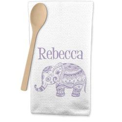 Baby Elephant Waffle Weave Kitchen Towel (Personalized)