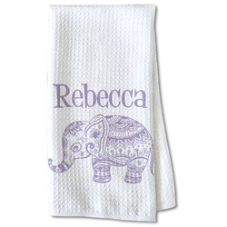 Baby Elephant Waffle Weave Kitchen Towel - Partial Print (Personalized)